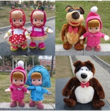 New Masha and Bear Toys Singing Speaking Dancing Russian Language Masha and Bear Dolls Electronic Toys Gifts