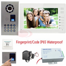 Fingerprint/Keyboard HD Video Door Phone IP65 Waterproof Outdoor CCD 700lines Camera Home Video Intercom Color Monitor 7inch