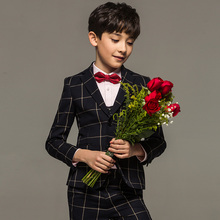 Brand boy clothes child kid baby boy formal wedding suits England Style Plaid kids tuxedo boy prom suit toddler baby dress suits(China)