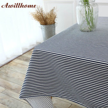 Awillhome 11Size Black White Stripes Tablecloths Home Rectangle Tablecloths Outdoor Linen Dining TableCloth Cheap Table Covers(China)