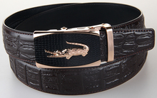 Stylish Brand Designer Genuine Leather Straps Luxury Crocodile Waist Belt For Man With Alloy Automatic Buckle Cool Mens Belt