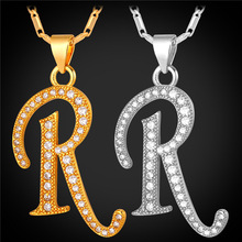 Initial R Letter Pendants Necklaces WomenMen Gift Cubic Zirconia Alphabet Jewelry Gold Color Necklace P1688