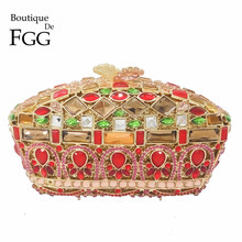 Multi Golden Red Crown Minaudiere Handbags Women Crystal Evening Clutch Bag Ladies Party Dinner Metal Clutches Wedding Hand Bag(China)
