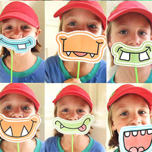 9pcs Photo Booth Props baby shower Birthday gift event supplies Party favor wedding Decoration Children Kids Funny mask holiday