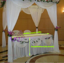 Wedding decorations wedding white Table Cover deluxe marriage Table Skirt With drape Wedding ivory table decorations