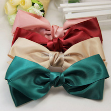 Fashion Women Multicolor Satin Nice Ribbon Bow elastic hairband Hair Accessories Band Rope Scrunchie Ponytail Holder