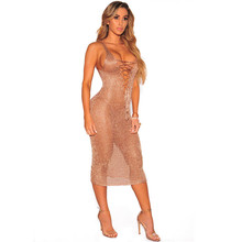 Womens Sexy Mid Calf Dresses Summer Ladies Plain Rose Gold Sleeveless Lace Up  Neck Backless Cut Out Split Shift Plus Size Dress