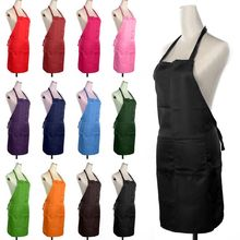 Fashion Unisex Aprons 6 Colors Solid Plain Apron with Front Pocket Chefs Butchers Home Kitchen Cookware Craft Baking
