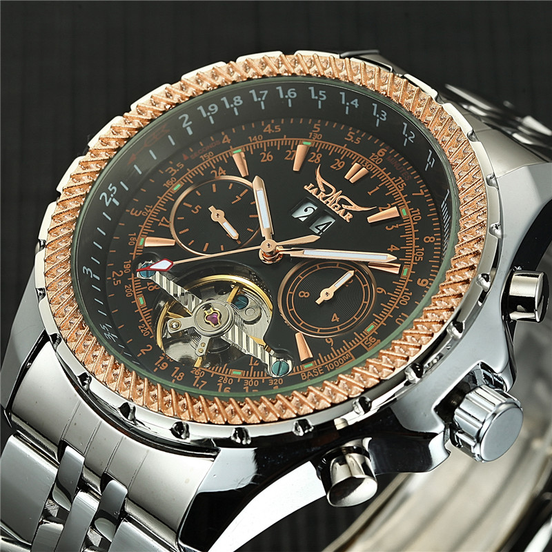 2017 Automatic Mechanical Tourbillon Mens Watches Self-Wind Male Watch Silver Gold Men Sport Wristwatch relogio masculino<br>