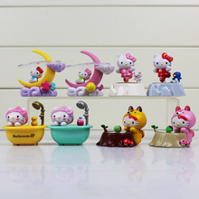 6cm 8pcs/set Hello kitty figure pvc toy HELLO KITTY talking shower play set of 8 with box(China)