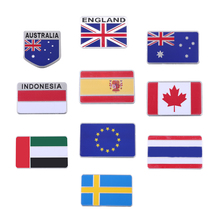 Sweden/EU/Australia/UK/Spain/Canada Flag Metal Emblem Badge Aluminum Funny 3D Car Decals Car Truck SUV Motorcycle Stickers