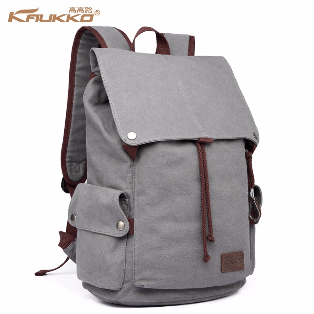 2017  New Male Canvas Backpack High Capacity Travel Bag Laptop 15.6 inch backpack Men School Bag Rucksack KAUKKO<br>