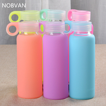 300ML Candy Colors Glass Bottle Colored Jelly Kettle With Silicone Cover High Borosilicate Water Bottle Fashion Sport Kettles(China)