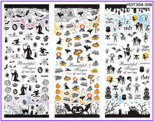 3 PACKS / LOT HALLOWEEN GHOST SKULL PUMPKIN BAT NAIL TATTOOS STICKER WATER DECAL NAIL ART HOT304-306