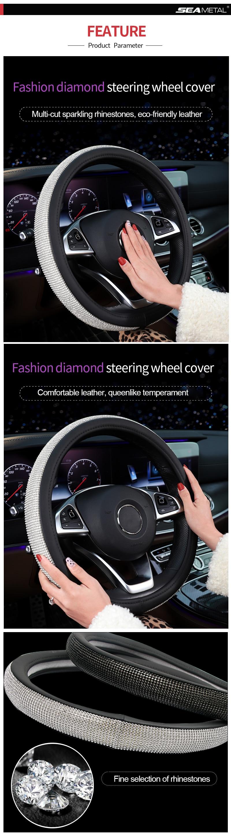 Crystal Rhinestone Interior Steering Wheel Cover Auto Accessories