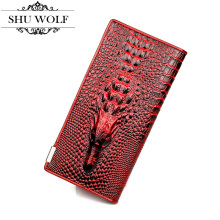 New Fashion Lady Split Leather Long Wallet 3D Designed Purse Two Fold Wallet Crocodile Pattern Clutch #364