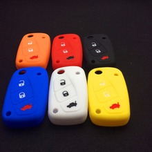 Silicone car key  cover for FIAT /Panda /Stilo /Punto /Doblo /Grande /Bravo 500 Ducato /Minibus 3 buttons car styling