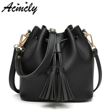 Luxury Women Bucket Bags 2017 PU Leather Women Messenger B Fashion Tassel Women Bag Famous Brands Female Tote Bag Bolsas a680/o