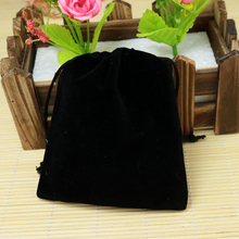 Wholesale 9x12cm Drawstring Black Velvet Bags Pouches Jewelry Christmas Valentines Gift Bags 50pcs/lot Free Shipping