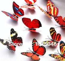 Free Shipping 60pcs 3D Artificial Butterfly Decorations Magnets Craft Fridge Room Wall Decor