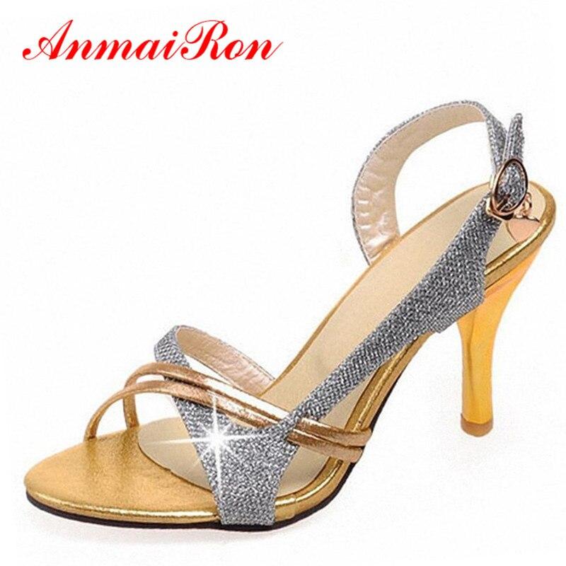 ANMAIRON High Heels Sandals for Women Summer Wedding Shoes Woman Gold Yellow Silver Bling Women Shoes Glitter Gladiator Sandals<br><br>Aliexpress