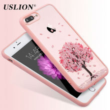 For iPhone 7 6 6s 5 5s SE Plus Phone Cases Luxury Transparent Acrylic Elegant Cherry Blossom Pattern Back Cover Case Coque Capa