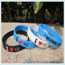 I Love 5 SECONDS OF SUMMER wristband,I Love 5 SOS bracelet,3 colours,filled in colour,debossed,100pcs/lot,free shipping