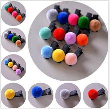 12pcs child girls hair accessories pompom soft ball elastic hairband hair ties gum rainbow kid hair clip hairpins barrettes Q21