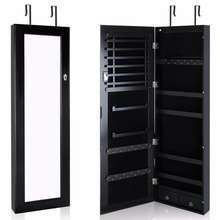 Lifewit Lockable Full Length Mirrored Jewelry Cabinet, Wall Door Mounted Bedroom Armoire, Makeup Organizer with LED Light, Black(China)