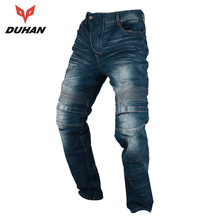 DUHAN Windproof Motorcycle Racing Jeans Casual Pants Men's Motorbike Motocross Off-Road Knee Protective Moto Jeans Trousers(China)