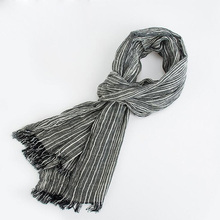 75*205cm 2016 Wholesale Brand Winter Scarf Men Warm Soft Tassel Bufandas Cachecol Gray Plaid Woven Wrinkled Cotton Men Scarves(China)