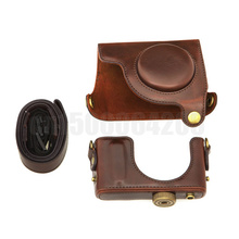 Coffee PU leather detachable Camera case bag with strap for Can&n S110 Digital Camera brand new(China)