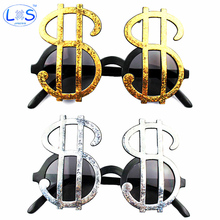 (LONSUN)Novelty Dollar pattern Glasses Halloween Party Props Favors Accessories Decoration Toy For Making Jokes With Friends