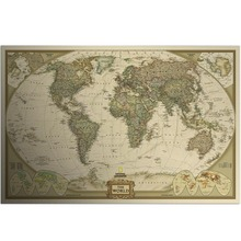Vintage World Map Wall Stickers Home Decor Art Wallpaper decoration Retro Paper Matte Kraft Paper Map Of World(China)