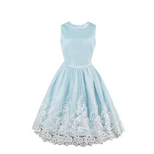 Sisjuly Women Summer Light Blue Dress Girls A-Line Sleeveless Bow Collar Dresses Knee-Length 2017 Vintage Style Girls Dress
