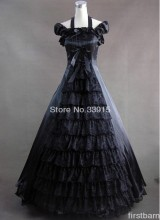 Custom Halloween Elegant and Graceful Black Gothic Victorian Dress Gown Prom Lolita Dress Costume