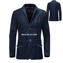 Spring Autumn Men's Fashion Slim Fitted Designer Blue Denim Blazer Coat , Formal Business Cool Casual Jean Suit Blazers For Men