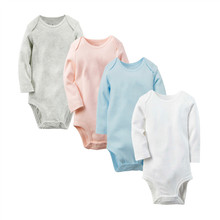 Promotional Good Quality Baby Girls Boys Long Sleeves 100% Cotton Solid Bodysuit, Infant Jumpsuit  newborn to 24M