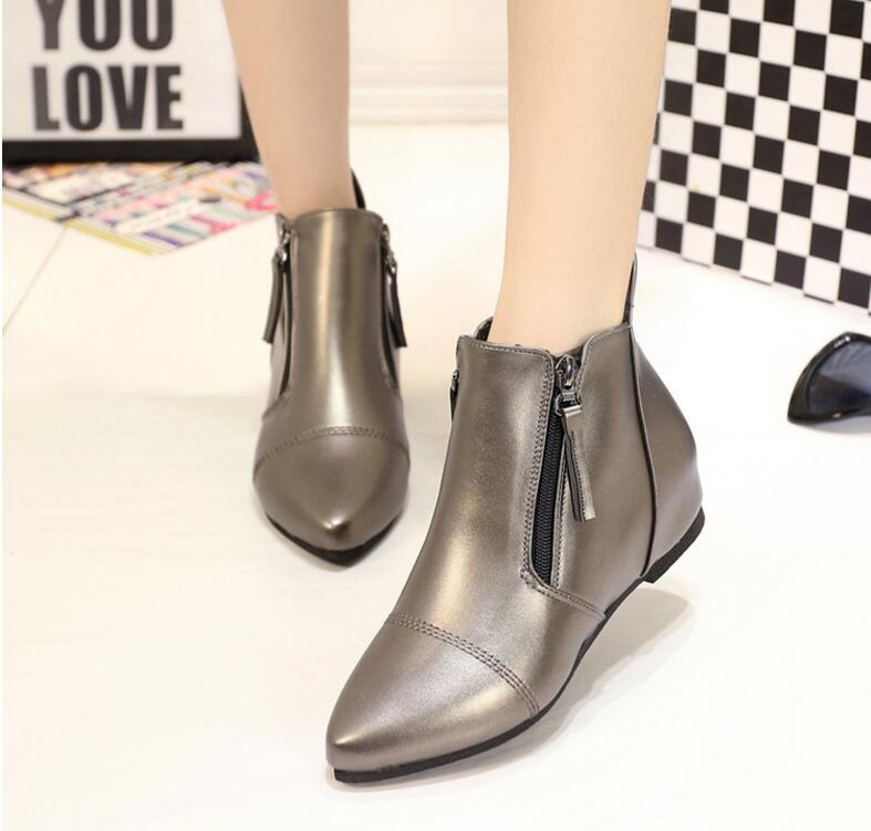 2016 Autumn and winter short cylinder boots with wedge boots shoes Martin boots women ankle boots with thick scrub<br><br>Aliexpress