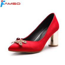 FAMSO 2018 New Spring Autumn High Heels Shoes Black red Wedding Shoes Rhinestone Pumps Gold Heels Silk Platforms Pumps(China)