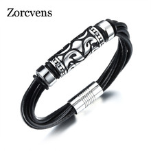 ZORCVENS Cool Man's Leather Weaved Bangles New Fashion Stainless Steel Simple Design Men Vintage Jewelry Punk Style(China)
