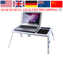 Portable Laptop Lap Desk Foldable Table E-Table Bed With USB Cooling Fans Stand TV Tray Lapdesks