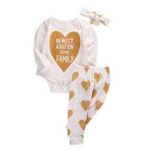 pudcoco 0-18M Infant baby Boy Girl clothes kids children Heart Print bodysuit+polka dot Pants 3pcs Baby Coming Home Outfits Set(China)