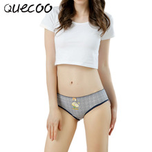 Buy QUECOO 5pcs/lot Combination Set Lemon Flower Print Underwear Lovely Sexuality Comfortable women's underwear pants Free shipping