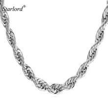 Starlord 6MM 316L Stainless Steel/Black Gun/Gold Color Dookie Rope Chain Necklace For Men Jewelry Wholesale Rope Necklace GN2176(China)