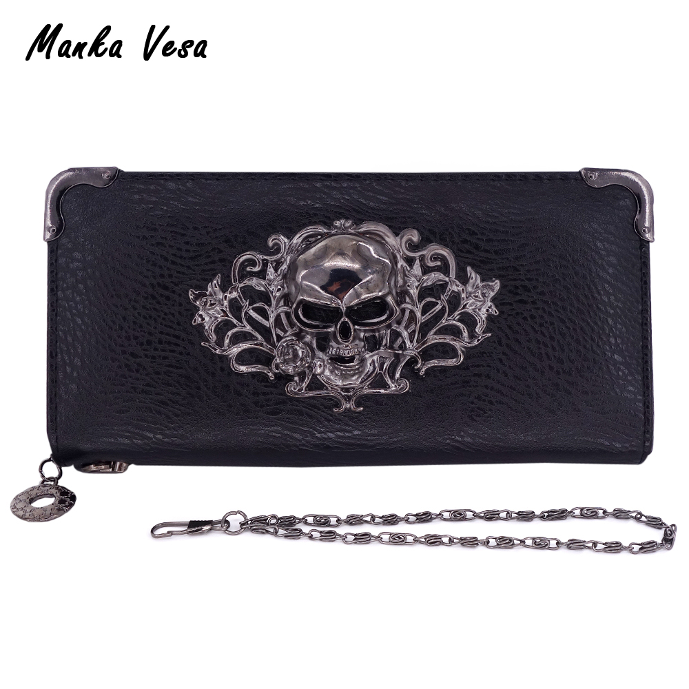 Manka Vesa Punk Style Cool Women Wallets Skull Pattern Lady Long Clutch Wallet High Quality Purse For Women Carteira Feminina(China)