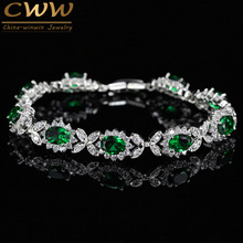 Luxury Created Emerald Green Women Jewelry Flower Chain Link Bracelet Bangle With White Cubic Zirconia Setting CB171