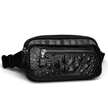 Herald Fashion men Waist Belt Bag crocodile pattern genuine Leather Belt Pack Waist Bag men Bag Travel Bag Waist Pack Bolsas(China)