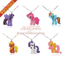 1pcs My little ponies Pvc Pendant Necklace kids gifts for Cards Invitations Children Party Gifts