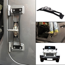 Black Car No Drilling Door Hinge Hinges Foot Rest Pegs Pedal For Jeep Wrangler JK 2007-2016 Exterior Mouldings C/5(China)